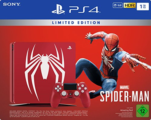 PlayStation 4 - Konsole (1TB) Limited Edition Marvel's Spider-Man Bundle inkl. 1 DualShock 4 Controller, rot