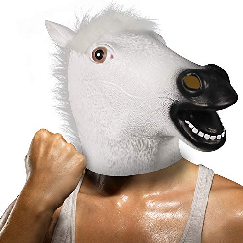 Demi Sharky Deluxe Horse Mask Latex Halloween Costume Animal Cosplay Full Head Adult White