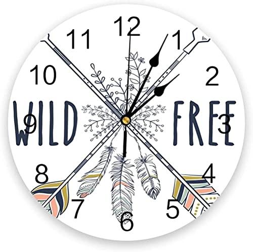 Decoración grande reloj de pared arrow Flecha silenciosa silencio reloj de pared decorativo reloj digital operado redondo oficina oficina escuela escolares fáciles leer para la decoración de la habita