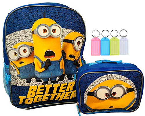 """Despicable Me Minions School 16"""" Backpack Bookbag with Insulated Lunch Box Set + Name Tag"""