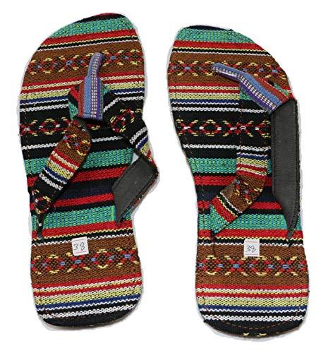 Sconosciuto Infradito in Cotone/Sandali in Cotone/Pantofole in Cotone – Fatto a Mano in Nepal – Unisex – Taglia EU 38