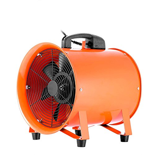 OrangeA Utility Blower 10 Inch 0.45HP 1520 CFM 3300 RPM Portable Ventilator High Velocity Utility Blower Fan Multifunctional Ventilator Fume Extractor (10 Inch)