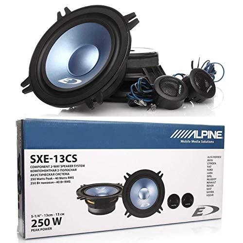 "1 kit sistema a 2 vie compatibile con ALPINE SXE-13CS 5,25"" 13,00 cm 130 mm diametro 40 watt rms 250 watt max 2 woofer 2 tweeter auto 4 ohm, a coppia"