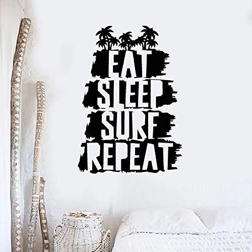 Palme Wandtattoo essen Schlaf Surfen wiederholen Vinyl Aufkleber Wohnkultur kreative Wandbild 42 * 30cm