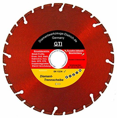 Diamanttrennscheibe Trennscheibe GTI_Ø 180 mm, B= Ø 22,23 mm, Spezial Vakuum beschichtet, Metall-Profile, Stahl, Guss, Eisen, Inox, Holz, GFK, CFK, uvm,