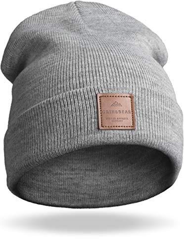Grin&Bear Unisex Streetwear Mütze Beanie Feinstrick grau meliert M65