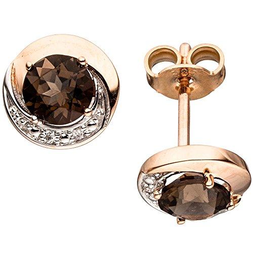 Pendientes con diseño de{4} diamantes brillantes & cuarzo ahumado marrón redondo{585} de oro rojo dorado