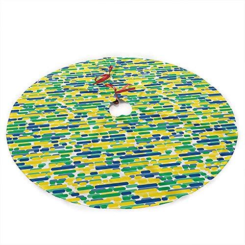 ALLdelete# Christmas Tree Skirt Traditioneller Feiertags-Weihnachtsbaum-Rock mit Patrioten-brasilianischem Flaggen-Farben-Streifen-Entwurf, 91Cm (36In)