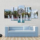 Impresiones en lienzo, arte abstracto, 5 lienzo, arte de pared, Estambul,capital de Turquía, cuadro de pintura, póster con impresión en HD, 150X80