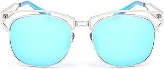 LUKEEXIN Unisex Metal Frame Colored Lens UV Protection Sunglasses for Men Women (Color : Blue)