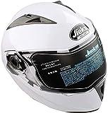 Casco de Moto Flip Up Qiilu casco de moto doble visera diseño DOT blanco (XXL)