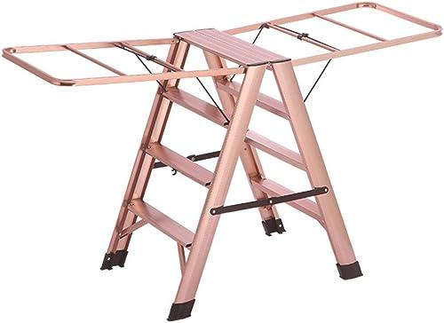 JIANPING Escabeau en Aluminium échelle intérieure Pliante Multi-Fonction Cintre Suspendu au Sol escabeau Double Usage escabeau (Couleur   rose, Taille   50  73  80CM)