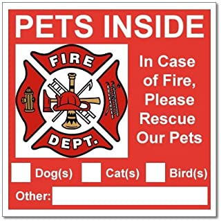 6 Pets Inside Red Safety Alert Warning Window Door Stickers; in Fire or Emergency They Notify Rescue Personnel to Save Pet; 3 X 3 Inches