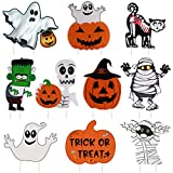 10PCS Yard Signs for Halloween Props Yard Stakes Pumpkin Ghost Monster Yard Sign Stakes for Halloween Decorations Outdoor Lawn Decor Yard Decorations