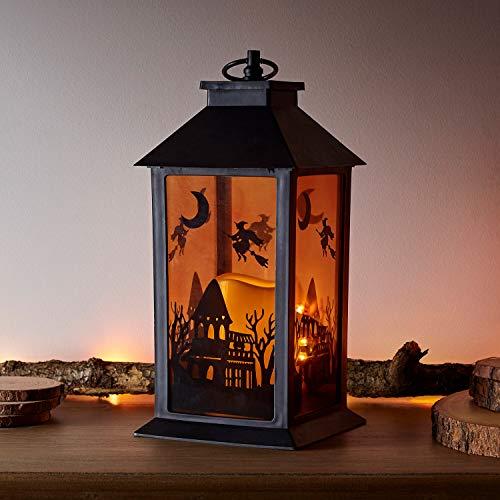 Lights4fun Halloween Laterne mit LED Kerze für den Außenbereich Timer batteriebetrieben