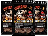 JURASSIC JERKY'S INFERNO -X Carolina Reaper Peppered Beef Jerky link snacks, 3 pack (9 oz) Made with HOTTEST PEPPER in the WORLD!! Great on the go, gym and backpacking. Good stuff, subscribe!