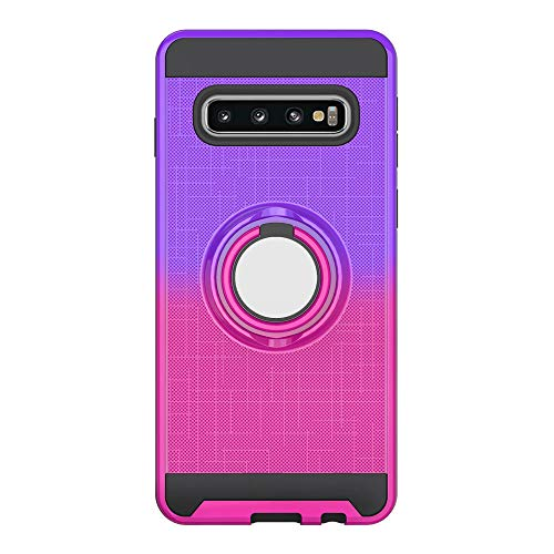 The Grafu Hülle für Galaxy S10 Plus, Silikon TPU + Hart PC 2 in 1 Handyhülle, 360 Grad Ring Ständer Schutzhülle für Samsung Galaxy S10 Plus, Violett + Rot