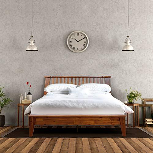 Acacia Kaylin 14 Inch Wood Platform Bed Frame with Headboard, Queen, Caramel