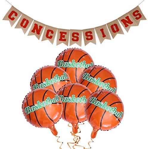Amosfun Guirnalda de arpillera para fiestas, 18 pulgadas, globos de baloncesto deportivos, juego de cumpleaños, caracteres de colores, para el día o para la foto
