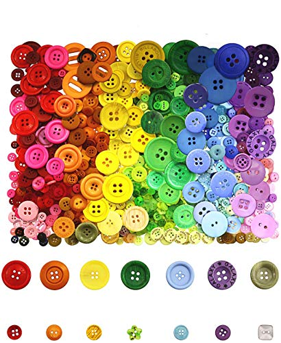 800 Pcs Assorted Sizes Resin Buttons,Round Craft Buttons for Sewing DIY Crafts,Children's Manual Button Painting