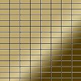 Azulejo mosaico de metal sólido Titanio Gold espejo oro 1,6 mm de grosor ALLOY Bauhaus-Ti-GM 1,05 m2