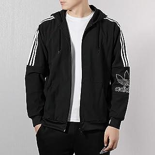adidas 阿迪达斯三叶草男装 春季 时尚运动服连帽保暖经典三条纹休闲夹克外套