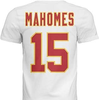 Hall of Fame Sports Memorabilia NWT New Mahomes #15 Kansas City White Custom Screen Printed Football T-Shirt Jersey No Bra...