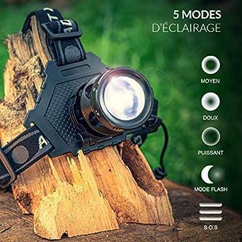 BRAVO ALFRED Lampe Frontale LED Ultra puissante - Lampe LED utilisable pour eclairage Velo ou randonnées et 5 Modes Dont Flash, SOS et Zoom. Lampe Frontale Rechargeable avec 3 Batterie 18650