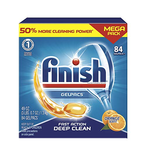 Finish All in 1 Gelpacs Orange, Dishwasher Detergent Tablets 84 count (packaging may vary )