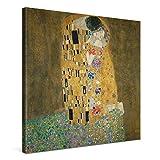 PICANOVA – Gustav Klimt The Kiss 80x80cm – Cuadro sobre Lienzo – Impresión En Lienzo Montado...