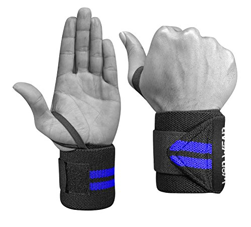 WOD Wear Elastic Wrist Wraps for Powerlifting, Strength Training, Bodybuilding, Cross Training, Olympic Weightlifting, Yoga Support - One Size Fits All - 100% (Blue Stripes)