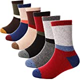 ANTSANG Kids Wool Hiking Socks 6 Pairs Toddlers Boys Girls Warm Thick Thermal Crew Snow Cabin Child Boot Winter Gift Socks(Color Striped D,8-12 Y)