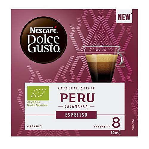 NESCAFÉ Dolce Gusto - Cápsulas orgánicas Perú Cajamarca Espresso (producto nuevo). 1 caja = 12 cápsulas (paquete de 4 cajas = 48 cápsulas)