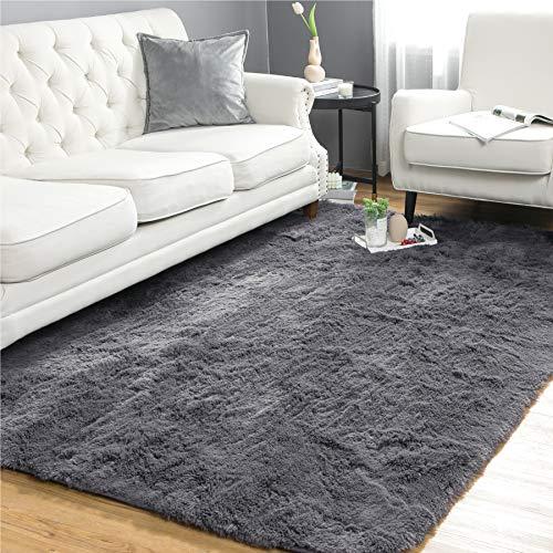 Bedsure Fluffy Area Rug for Living Room, 5.3 x 7.5 Feet, Grey - Non-Slip Shaggy Bedroom Carpet, Plush Living Room Shag Furry Floor Rugs