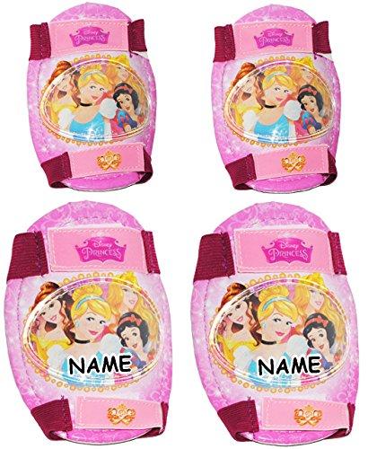alles-meine.de GmbH 4 TLG. Set:  Disney Princess / Prinzesssin  - Knieschützer + Ellenbogenschützer - incl. Name - für Circa 5 bis 12 Jahre - für Kinder - Gelenkschützer Kniesc..