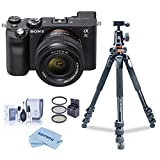 Sony Alpha 7C Mirrorless Camera with FE 28-60mm f/4-5.6 Lens, Black - Bundle with Vanguard Alta Pro 264AT Tripod and TBH-100 Head, Filter Kit, Cleaning Kit, Cloth