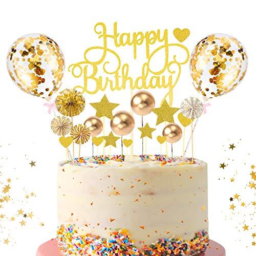 Tortendeko Gold,Kuchen Topper,Kuchendekoration,Geburtstag Torte Topper,Cake Topper,Happy Birthday Kuchendeko,Kuchen Deko für Geburtstag mit Sternen,Konfetti Ballon,Liebe und Papierfächer