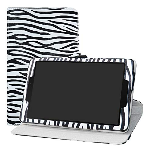 Galaxy Tab A 8.0 SM-P200 2019 Rotation Case,LFDZ 360 Degree Rotating PU Leather With Cute Pattern Sleeve Cover for 8.0' Samsung Galaxy Tab A 8.0 SM-P200 / P205 2019 Tablet,Zebra Black