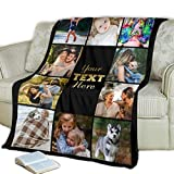Custom Family Photo Blanket Gift - Personalized Photo and Text Fleece Throw, Great for Grandma, Grandkids and Mom (Black, 50 x 60)