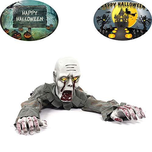 YUSDP Halloween-Dekor - Scary Crawling Zombie mit Sound und blinkenden Augen, Creepiest Haunted- für Yard Dekorationen, Haunted House Horror Requisiten, Party-Spielzeug