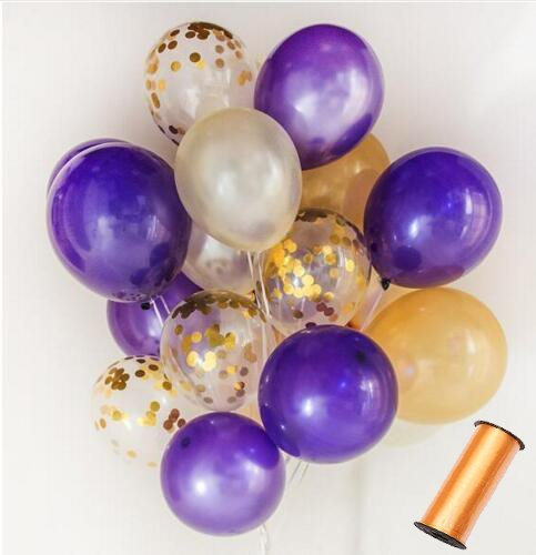 Erosion 110 Party Balloons + 100 Yards Gold Curling Ribbon Roll Set by 34 Gold Balloons   33 White Balloons   33 Purple Balloons  10 Gold Confetti Balloons - 12-Inch Opaque Latex Balloons for Parties