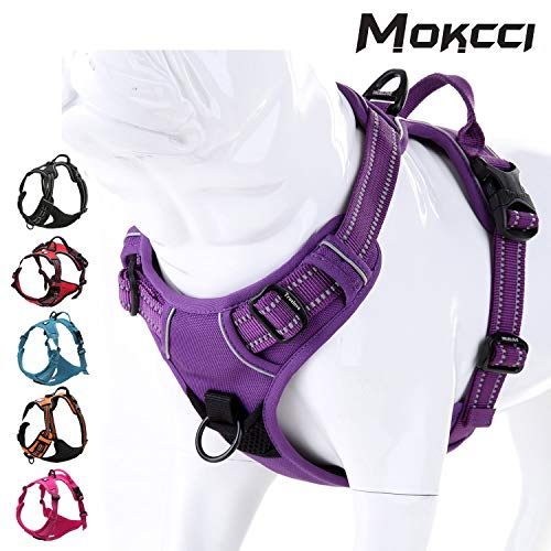 MOKCCI Truelove Soft Front Dog Harness .Best Reflective No Pull Harness with handle and 2 Leash...