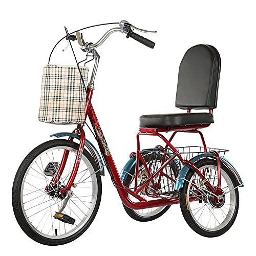 ZFF Adult Bicycle Cycling 3 Wheel Bike Three Wheel Bike Cruiser Cycling Pedal Tricycle with Shopping Basket Women Men Seniors for Recreation Shopping Exercise