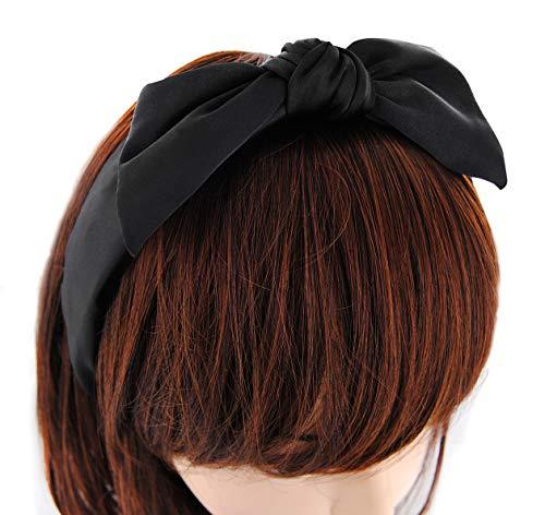 axy Haarreif mit Schleife aus Satin, Haarband Vintage Hairband Stirnband Haarreifen HRS1 (Schwarz)
