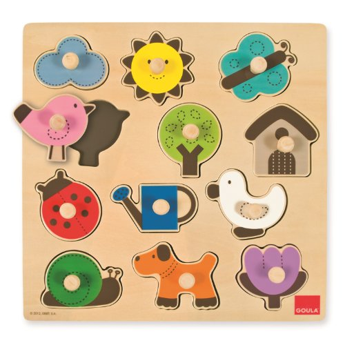 Goula D53118 - houten puzzel silhouetten tuin, 12 delen