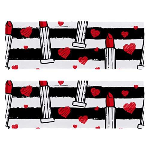 2 paquetes de toallas de yoga para gimnasio, camping, playa y viajes, barra de labios y rayas blancas negras para el cuello, secado rápido