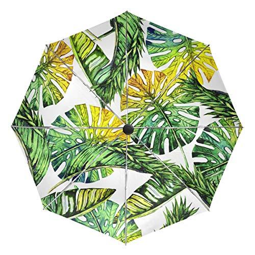 Paraguas de Viaje pequeño a Prueba de Viento al Aire Libre Lluvia Sol UV Auto Compacto 3 Pliegues Cubierta de Paraguas - Selva Tropical Floral con Hojas de Palmera y Plantas