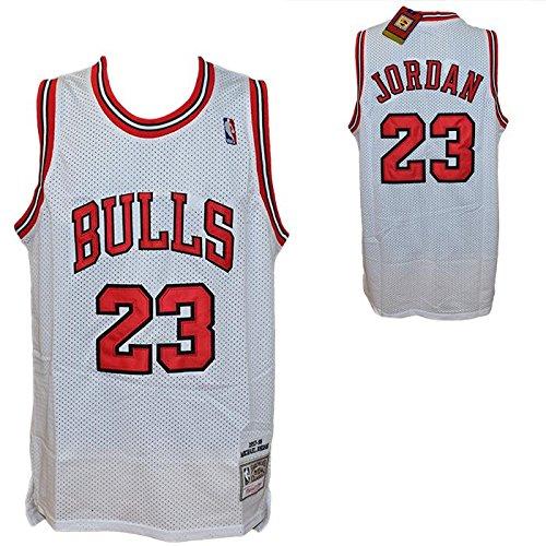MITCHELL & NESS Canotta Bianca NBA Retro Vintage - Michael Jordan - Chicago Bulls - Taglia S