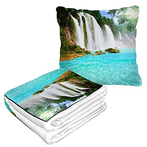 Manta de viaje en cascada, almohada 2 en 1, belleza tropical bosque sol al aire libre, manta de avión para el hogar, sofá mullido, franela para oficina