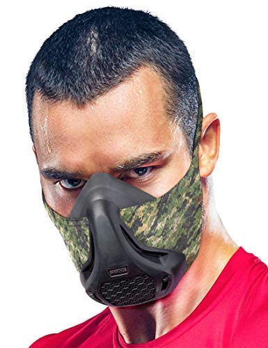 Sparthos Training Mask High Altitude Mask – for Gym Sport Workouts, Running, Biking, Elevation, Working - Athletic Exercise Work Out Runner Face Mask - Mask 2 3 – for Men Women Athlete [Camo + Case]